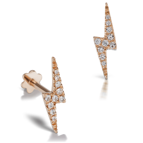 Diamond Lightning Bolt Rose Gold Stud Tragus