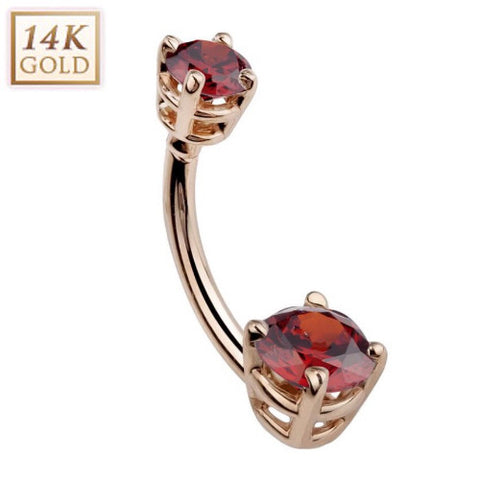 January Garnet Solid 14k Rose Gold Belly Ring