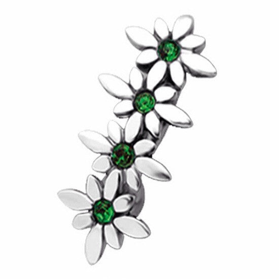 Emerald Cubic Zirconia Daisy Reverse Belly Ring