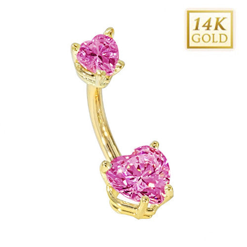 Tourmaline Hearts Solid Yellow Gold Belly Bar (October)