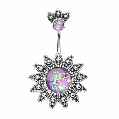 Aztec Opal Sunburst Belly Button Ring