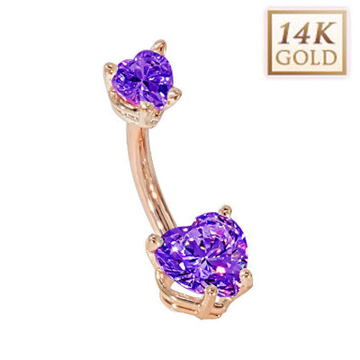 Amethyst Hearts Solid Rose Gold Belly Bar (February)