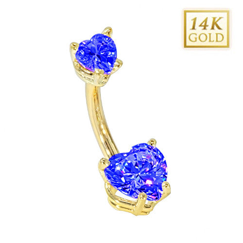 Sapphire Hearts Solid Yellow Gold Belly Bar (September)