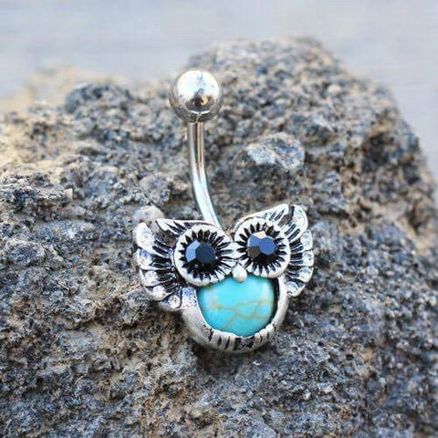 Turquoise Tummy Owl Belly Ring