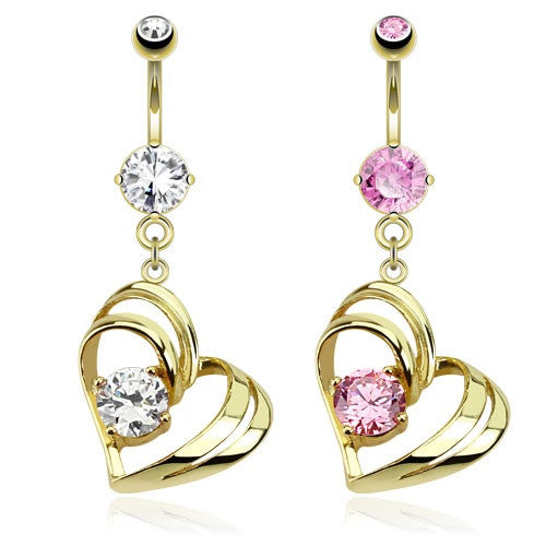 Double Hollow Heart With Cubic Zirconia Gem Gold Plated Dangle Navel Ring