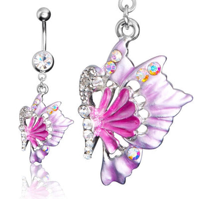 Tropical Butterfly Dangling Belly Button Ring