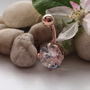 CZ Diamond Gem Rose Gold Navel Ring