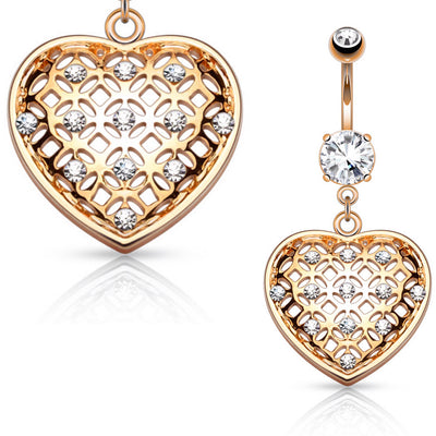 Jewel Seduction Heart Belly Bar