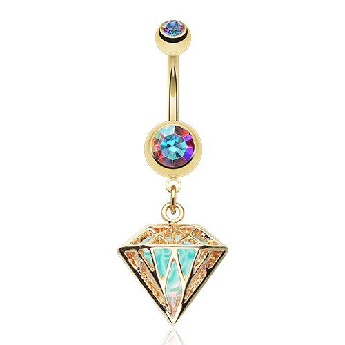 Golden Iridescent Urban Diamond Dangle Belly Bar