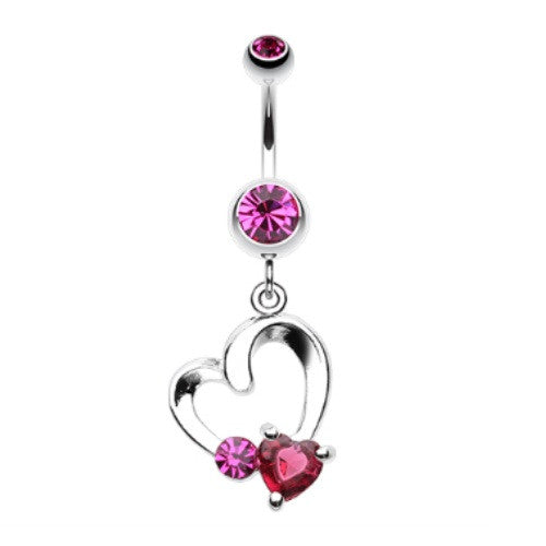 Crystal Romance Delight - Heart Belly Dangle