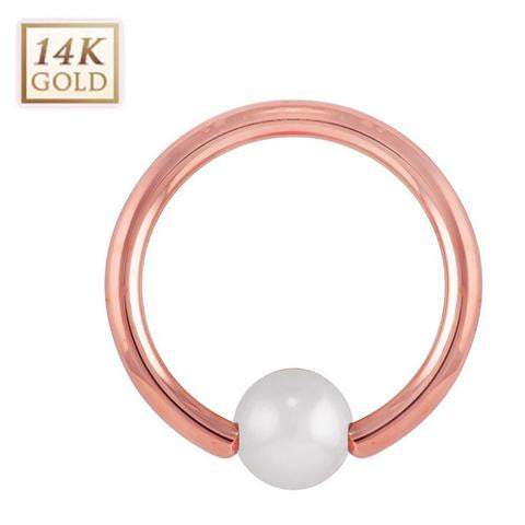 Solid 14K Rose Gold Pearl Belly Captive