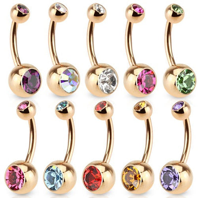 14k Rose Gold Plated Press Fit Cubic Zirconia Basic Navel Ring