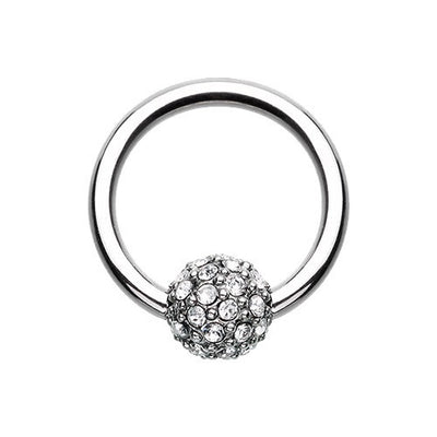 Tiffany Diamond CZ Pave Captive Navel Ring