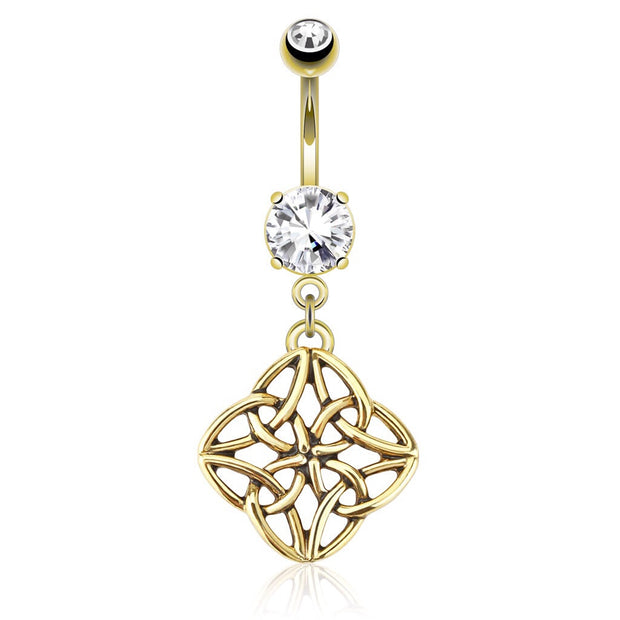 14k Yellow Gold Plated Celestial Knot Dangling Navel Ring