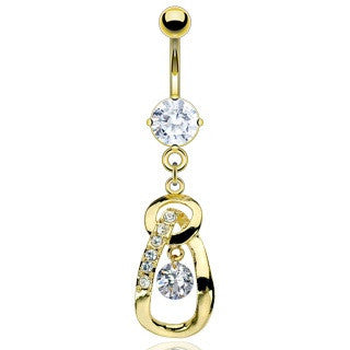 Paved Golden Tear Drop Dangling Belly Button Ring