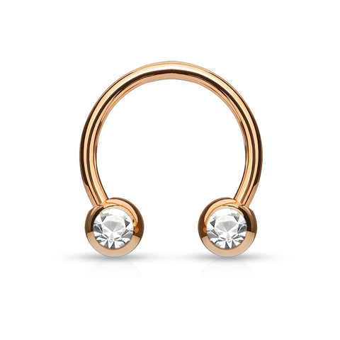 Clear Gem Rose Gold Circular Barbell
