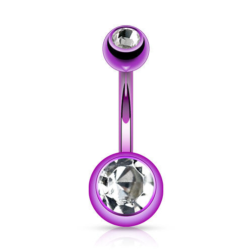 Bright Purple Titanium Belly Bar