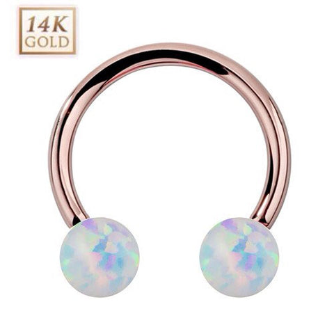 14K Rose Gold Circular Barbell with White Opal