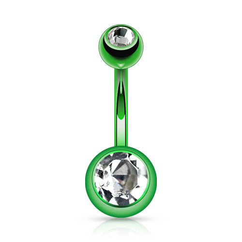 Green Titanium Belly Bar