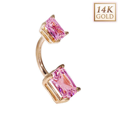 14k Rose Gold Emerald Cut October Birthstone Belly Ring