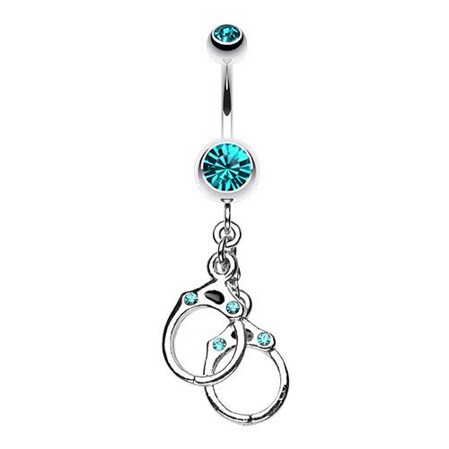 Handcuff  in Teal Belly Button Ring