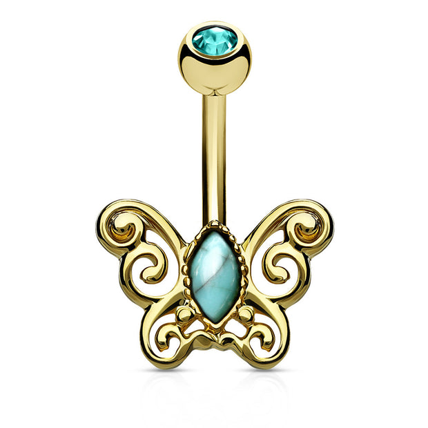 Golden Turqoise Flutter Belly Bar
