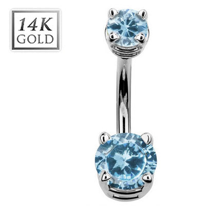 March Aquamarine Gem Solid 14k White Gold Belly Ring