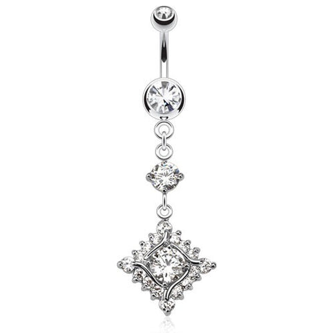 Sparklicious Diamond Pendant Dangly Belly Bar