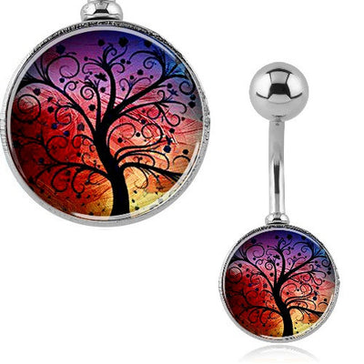 Sunset Tree of Life Picture Belly Ring