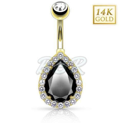 Pear Shaped Onyx CZ 14k Solid Gold Belly Bar