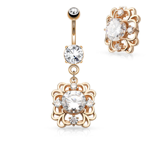 Rose Gold Jewelled Belly Ring
