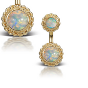 Braid Solitaire Natural Opal 14k Gold Belly Piercing Bar