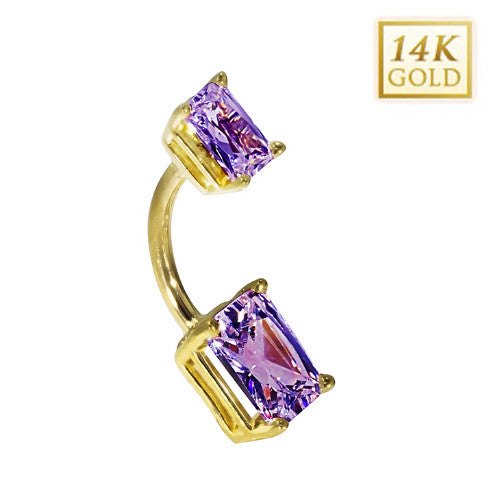 14k Yellow Gold Emerald Cut February Belly Ring