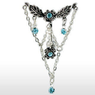 Chandelier With Aqua Blue Cubic Zirconia Gems Reverse Belly Ring