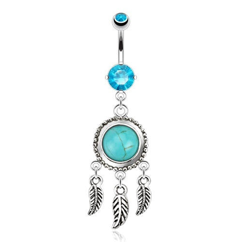 Semi Precious Turquoise Dream Catcher Dangling Navel Piercing