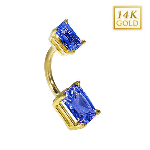 14k Yellow Gold Emerald Cut September Belly Ring