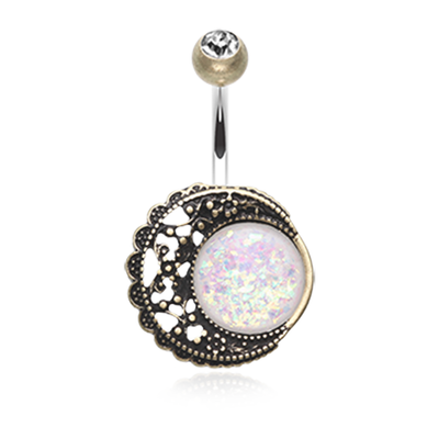 Filigree Moon Opal Belly Bar