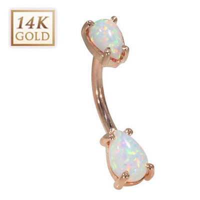 14k Solid Gold and Opal Navel Ring