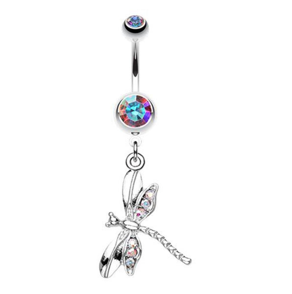 Aurora Dragonfly Dangle Navel Bar
