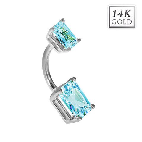 14k White Gold Emerald Cut March Birthstone Belly Ring