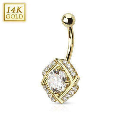 Solid 14K Yellow Gold Cubic Zirconia Belly Piercing