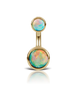 Solitaire Opal 14k Gold Belly Button Ring