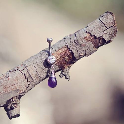 Odyssey Sterling Silver and Amethyst Navel Ring Jewellery