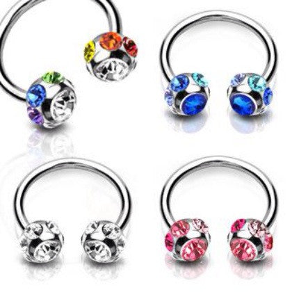 Multi Gem Circular Barbell Navel Ring Jewellery
