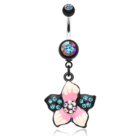 Tahitian Bloom Dangly Belly Ring