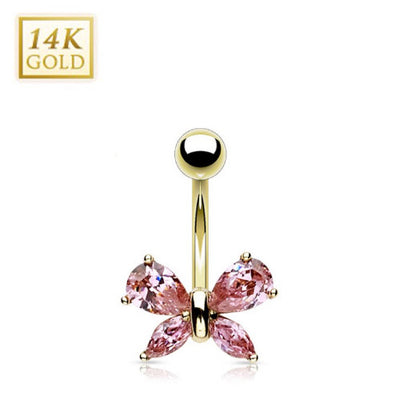 Crystal Butterfly Solid Gold Belly Ring