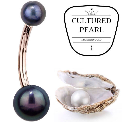 Cultured Peacock Pearl Rose Gold Belly Bar