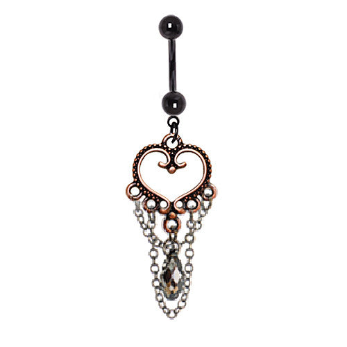 Antique Copper Heart Belly Dangle