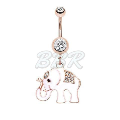 Rose Gold Good Luck Elephant Belly Dangle