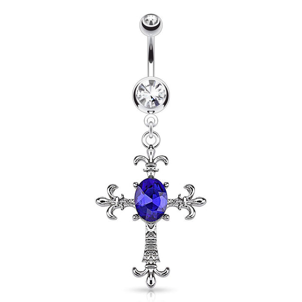 Fleur De Lis Cross With Oval Cubic Zirconia Gem Dangle Belly Button Ring